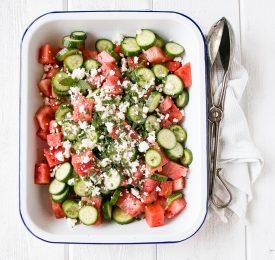 Salade de melon d'eau, concombre, féta et menthe