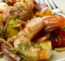 Almond and Garlic Fried Shrimp with Grilled Summer Ratatouille and a Basil Pesto