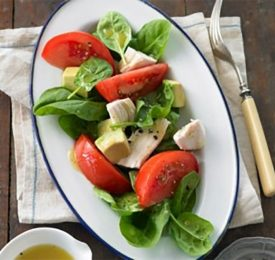 Baby Spinach, Chicken and Tomato Salad with Honey Dijon Vinaigrette