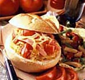 Baked Fresh Tomato, Ham and Swiss Filled Rolls
