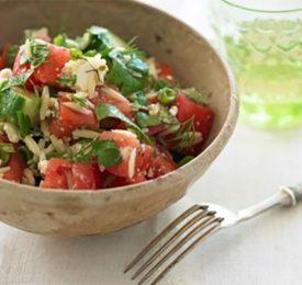 Chunky Tomato, Cucumber, Orzo and Fresh Herb Salad