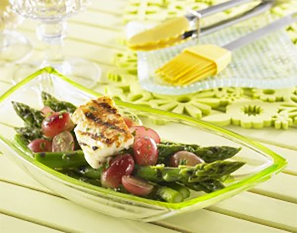 Grilled Asparagus, Grapes and Haloumi with Lemon Vinaigrette