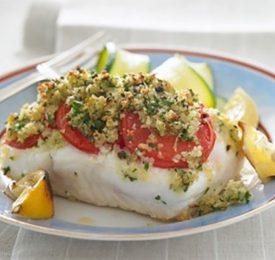 Roast Halibut with Tomatoes and Lemon Crumbs
