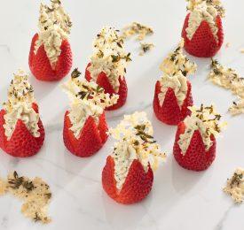 Balsamic and Parmesan Strawberry Bites