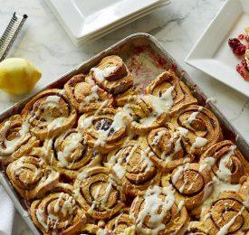 Sheet Pan Cherry-Lemon Cinnamon Roll Bake