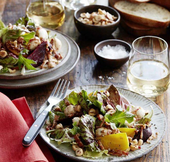 Roasted Beets, Hazelnuts and Fresh Mozzarella With Honey Bacon Vinaigrette