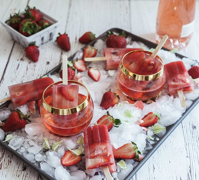 Strawberry Ice Pops with Rosé
