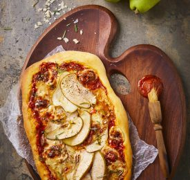 Pear Pizza with Brie Cheese And Rosemary