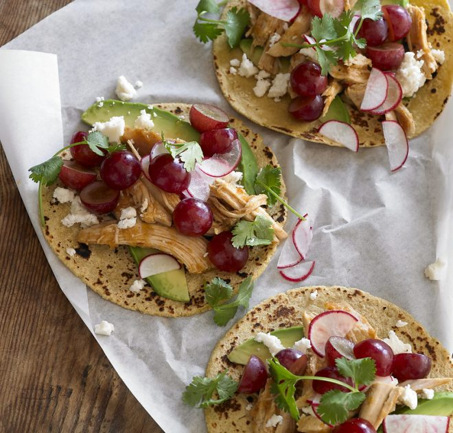 Chipotle Chicken and Grape Tacos