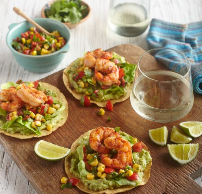 Grilled Shrimp Tostadas with Tomato-Corn Salsa, Guacamole and Lime