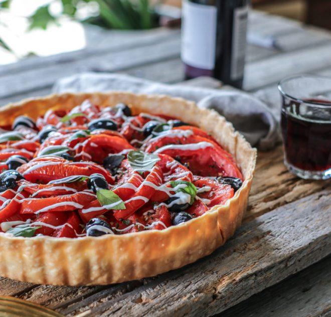 Heirloom Tomato And Black Olive Tart