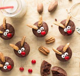 Brownies aux pacanes en forme de rennes